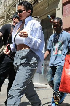 Out with her love: Kylie Jenner was seen leaving her NYC hotel with beau Travis Scott on Tuesday morning