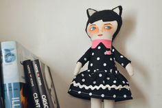 Black Cat Girl, Cloth doll, stuffed doll, handpainted doll, Soft Doll, Fabric Rag Doll, Stuffed Toy for Girl, polka dots dress,