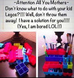 Upcycle unused Lego bricks into an impressive bathroom organizer. | 25 Parenting Hacks On Instagram That Are Borderline Genius