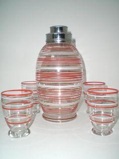 Martini Shaker Set | Vintage Striped Glass English Cocktail Shaker set