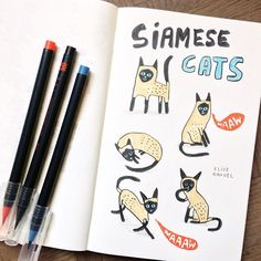 Back to the sketchbook this morning! Inspiration of the day: . Mean Cat, For Elise, Cat Sketch, Different Emotions, Fun Illustration, Doodle Drawings, Siamese Cats, Painting For Kids, Dibujo