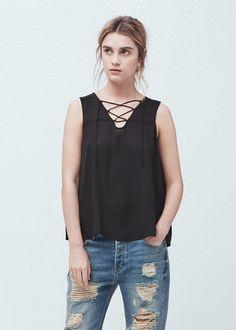 Top cordón trenzado - Camisas de Mujer | MANGO España