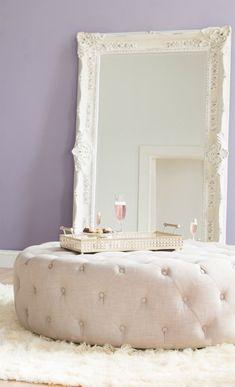 closet concept: oversized mirror & central ottoman