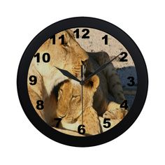 Lion And Cub Love Circular Plastic Wall clock