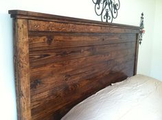 gorgeous wood headboard for king size bed farmhouse style stained distressed   Rustic king size bed   Do It Yourself Home Projects from Ana White