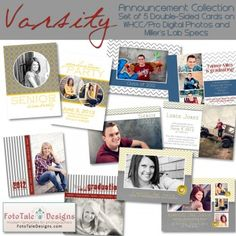Items similar to Varsity Graduation Announcement COLLECTION- Set of 5 custom photo templates for photographers on WHCC, Miller's Lab and PDP Specs on Etsy Graduation Templates, Graduation Cards, Graduation Announcements, Photos Lab, Custom Photo, Photo Book, Photographers, Specs, Card Ideas