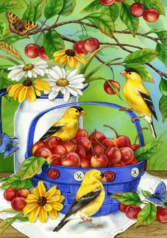 gold finches and cherries