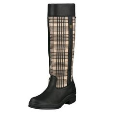 A rider's boot with a signature style. Completely waterproof, this features the Baker™ tartan on the shaft. Full-grain leather with a suede inner panel, elastic gusset at the knee. 4LR™ technology absorbs shock, and the stirrup-friendly Duratread™ sole resists the elements and provides a secure grip. I have these in Brown, they are great & so comfy!