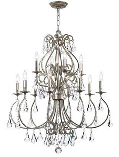 Crystorama 5017-OS-CL-MWP Ashton 12 Light Hand Cut Crystal Silver Chandelier