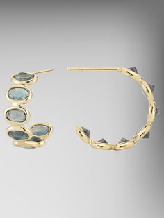 Green Sapphire Ombrė Small Hoop Earring set in 18kt Yellow Gold