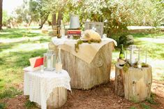 displaying wedding decor on tree stumps // photo by bvaphoto.com