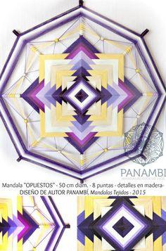 """MANDALA """"OPUESTOS"""" 8 puntas, 50cm de diámetro aprox - confeccionado a base de madera e hilo con aplicaciones en perlas de madera. DISEÑO DE AUTOR - PANAMBÍ + INFO: www.facebook.com/... MANDALAS MANDALAS TEJIDOS OJOS DE DIOS SIKULI"""