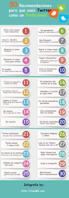 """Fuente│Iván Martínez Bernabeu: 30 Recomendaciones para usar TWITTER como un Profesional <a class=""""pintag"""" href=""""/explore/Infografía/"""" title=""""#Infografía explore Pinterest"""">#Infografía</a> @IvanMB_Social"""
