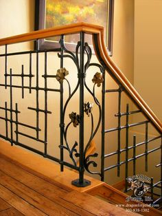 Dragon Forge in Colorado does some amazing work. _____________ American Craftsman Slit and Drift Railing with Art-Deco Pinecones - Dragon Forge - Colorado Blacksmith Modern Stair Railing, Stair Railing Design, Iron Stair Railing, Metal Railings, Staircase Railings, Modern Stairs, Banisters, Staircases, Rebar Railing