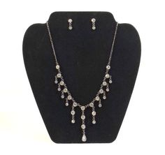 Gunmetal and Rhinestone Necklace and Post Earring Set by KatsCache, $54.95