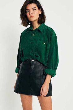 Urban Renewal Vintage Originals Cropped Corduroy Button-Down Shirt