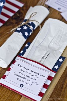 4th of July Trivia Cards wedding table / http://www.himisspuff.com/red-white-and-blue-4th-of-july-wedding-ideas/3/