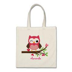 Hot Pink Cute Owl Girly Bags