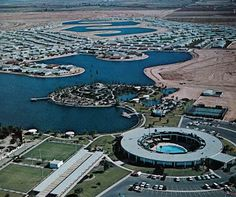 Sun City, Arizona in 1971. The building in the foreground is The Sun City Recreation Center (now The Lakeview Recreation Center) at Thunderbird Road between Del Webb Boulevard and 103rd Avenue. Like most places in Sun City, it still looks great today.