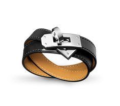 0885fde0de4f  Kelly Double Tour  Bracelet cuir double tour en Veau Chamonix Noir,  fermoir plaqué
