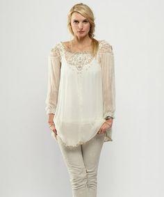 Look at this #zulilyfind! Ivory Embellished Off-Shoulder Tunic #zulilyfinds