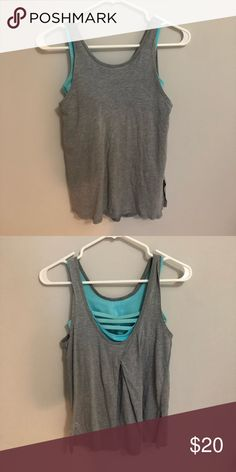 42404c7f2af26 ivivva tank top grey cotton tank with a light blue built in sports bra!  Ivivva