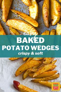 Baked Crispy Potato Wedges are a perfect side dish for burgers, steaks, and grilled foods of all kinds! Crispy on the outside but soft on the inside, they are a healthier choice than french fries and just as tasty. Crispy Baked Potato Wedges, Easy Baked Potato, Roasted Potato Wedges, Potato Wedges Recipe, Crispy Potatoes, Burger Side Dishes, Best Side Dishes, Side Dish Recipes, Grilling Recipes
