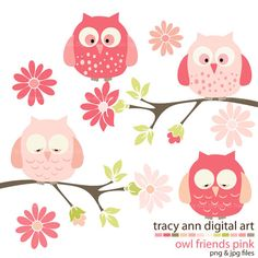 Baby Owls  Clip Art   Pink Baby Owls  on by TracyAnnDigitalArt, $5.95