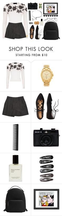 """Quiet"" by kahahathrryn ❤ liked on Polyvore featuring Oscar de la Renta, Michael Kors, TravelSmith, GHD, Holga, Clips, MANGO, Lara, white and black"