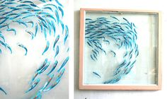 "Art Original Painting Custom Shimmering Shoal on Window Glass // 28"" x 30"" // Unique Home & Living Wall Decor"