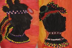 """Groep 8 Afrikaanse geschilderde gezichten met """"kralen"""" en diverse haarversiering"""