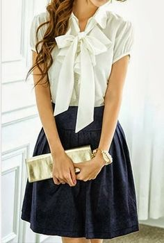 White Bow Shirt With Maxi and Clutch Click for more. So cute reminds me of something Blair would wear!