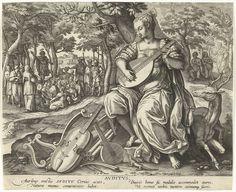 Adriaen Collaert | Gehoor, Adriaen Collaert, 1570 - 1618 | De allegorische figuur van het gehoor. Ze heeft een luit in de hand en speelt op het instrument. Ze is vergezeld door een hert. Op de achtergrond twee Bijbelscènes: Johannes de Doper predikt tot de menigte (Johannes 1:6-18) en Gods die Adam en Eva straft (Genesis 3:8). De prent heeft een Latijns onderschrift en is deel van een vijfdelige serie over de zintuigen.