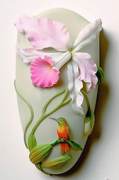 Wall Vases from Ibis & Orchid Design are a strong, stable line. Each vase is beautifully sculpted, cast in bonded marble and hand painted in great detail. Wall Vase is approximately x Cold Porcelain Flowers, Ceramic Flowers, Fine Porcelain, Porcelain Tiles, Polymer Clay Flowers, Polymer Clay Crafts, Bottle Art, Bottle Crafts, Vase Crafts