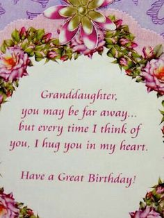 Granddaughter Birthday Across The Miles Poems Happy Quotes Verses For