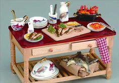 Miniature Seafood Work Table Set