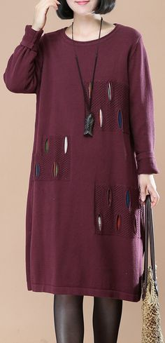 7c25361ad5439 purple split knit dresses Loose fitting spring dresses boutique patchwork  sweater  knit sweaterdress
