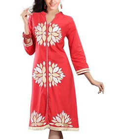 Look at this Chiro's Red & White Floral Shift Dress - Women on #zulily today!