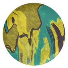 Mustard Yellow Teal Abstract Melamine Plate - chic design idea diy elegant beautiful stylish modern exclusive trendy