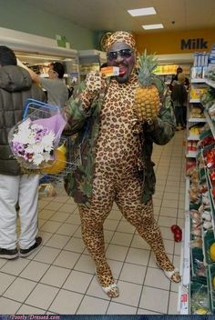 Peopleof  Walmart Hot Diggity Dog! Omg. That is a full body leopard onsie.