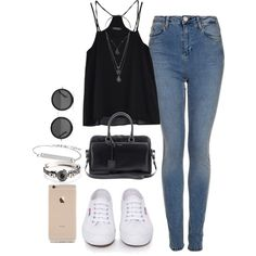 Casual day out. by sassypayne on Polyvore featuring polyvore, fashion, style, Topshop, Superga, Yves Saint Laurent, The Row, Choies, topshop, saintlaurent and pinkice