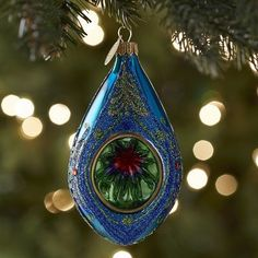 European Glass Reflector Cone Ornament