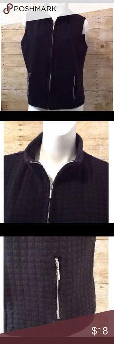 Karen Scott Sport Black Quilted Vest Karen Scott Sport Black Quilted Zip Up Vest. Women's Size L. 85% Cotton, 15% Polyester. Karen Scott Sport Jackets & Coats Vests