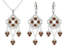 Romantic Jewelry Set Pendant and Earrings Designed by Lucia Costin with Square Shaped Ornaments Brown Swarovski Crystals Fancy Charms and Delicate Dots 925 Sterling Silver Handmade in USA *** Click image to review more details.(This is an Amazon affiliate link and I receive a commission for the sales)