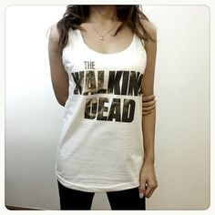 The Walking Dead Text US Series Zombie Ghost Women Sleeveless Tank Top Tanktop Tshirt T Shirt S,M,L