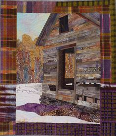 """Passages 2016 37.5"""" x 32"""" 95x81cm Machine pieced, machine quilted, cottons, cotton batting Many passages here, including the passage of time and weather. This will be among 60 Ruth B. McDowell quilts at my """"Life's Work"""" show at the Vermont Quilt Festival, June 23-26, 2016."""