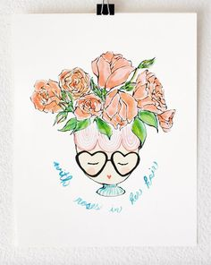 """Flight of Carousels Illustration """"With Roses In Her Hair"""". Watercolor Art Print, Illustration"""
