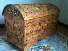 Handcrafted Cedar Chest - beautiful carving