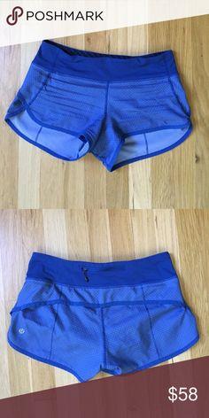 Lululemon Diamond Print Blue Speed Shorts Lululemon blue speed shorts with a diamond print pattern. Good condition. Size 4 lululemon athletica Shorts