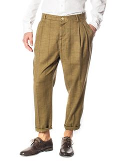 havana grano - pantalone loosed 2 pinces ampie su tessuto galles stretch tintocapo vintage wash #berwich